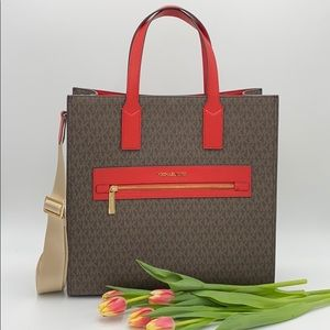 MICHAEL KORS KENLY LARGE NORTH SOUTH TOTE FLAME